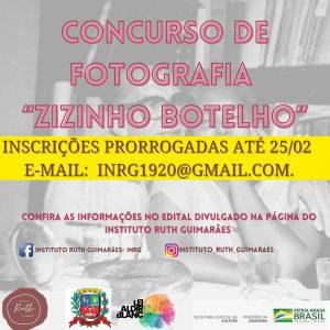 """concurso fotografia zizinho botelho Instituto Ruth Guimarães Prorrogado o prazo para inscrições do Concurso de Fotografia """"Zizinho Botelho"""""""